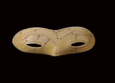 "The Inuit were the first to develop 'snow glasses"" this is beautiful! Meticulously carved ivory pair of snow goggles by the Punuk of Alaska."