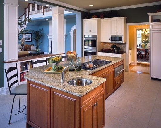 Not These Finishes But This Setup Center Island With Stove Design Kitchen Pinterest
