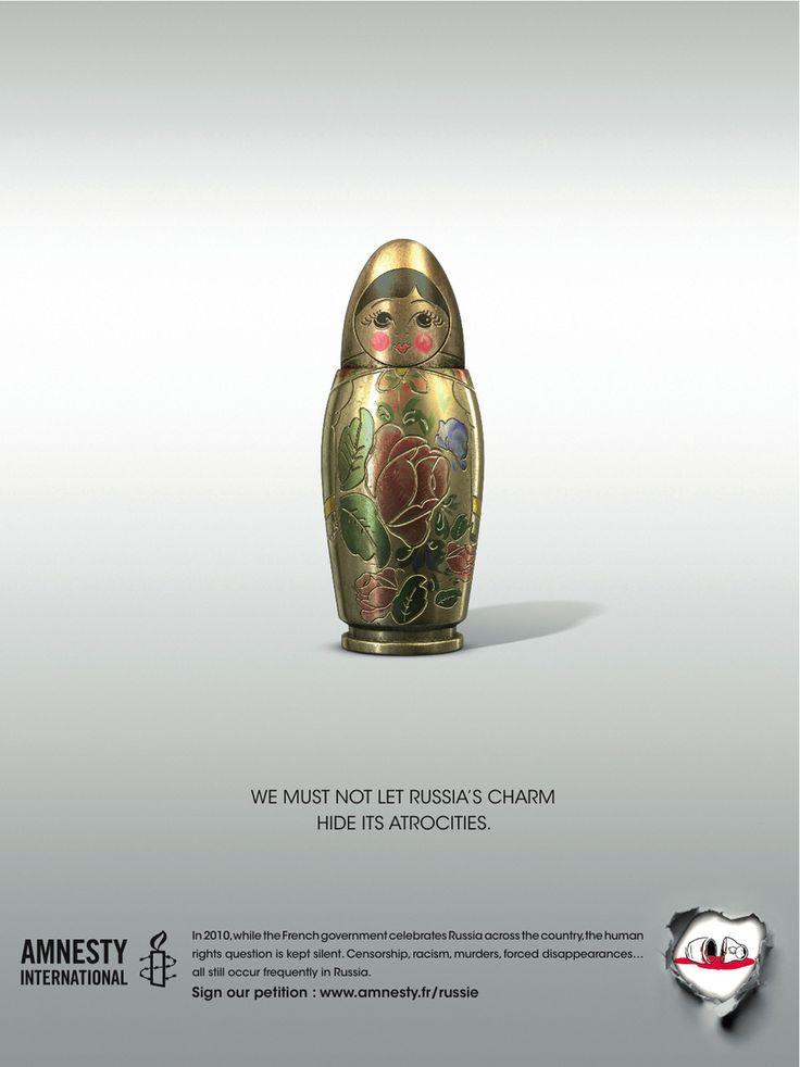 An anti-Russia ad via AI France turns a Matryoshka doll into a bullet. | The Most Powerful Ads Of Amnesty International