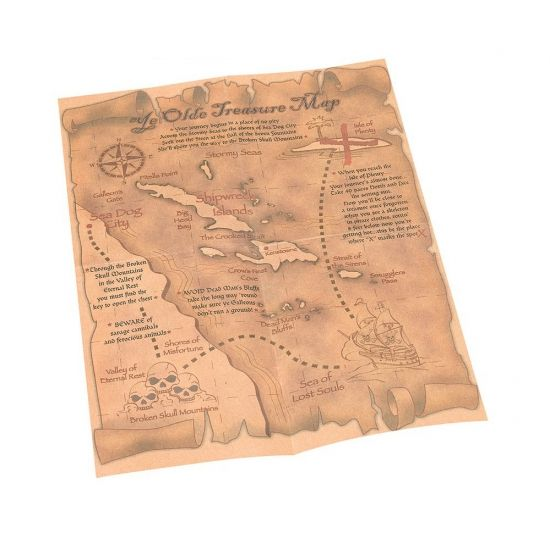 Piraten schatkaart. De schatkaart is ongeveer 22 x 30 centimeter (9x12 inch). De tekst op de schatkaart is Engels, bovenaan staat in grote letters Ye Olde Treasure Map en de kaart bevat o.a. locaties als Sea of lost souls en de Shipwreck islands.