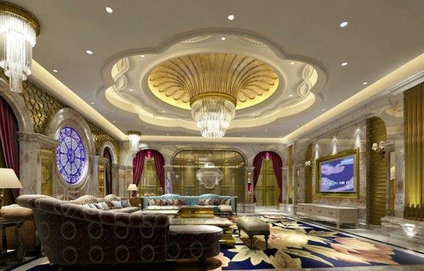Luxurious Villa Qatar gorgeous marble columns, gold chandelier curtains blanket