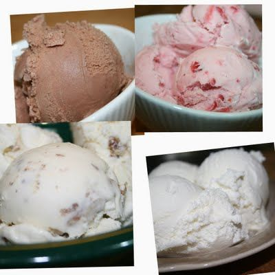Easy Homemade Ice Creams in the Cuisinart Ice Cream Maker ~ Vanilla ~ Butter Pecan ~ Chocolate ~ Fresh Strawberry and Peach