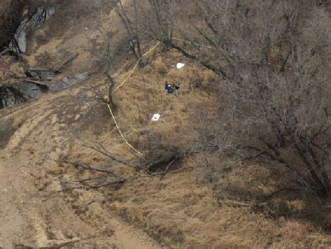 The site in Seven Bridges Park where hunters found the decomposed bodies of cousins Lyric Cook, 10 and Elizabeth Collins, eight, five months after they vanished from Evansdale, Iowa.