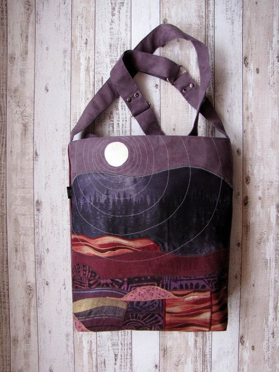 Crossbody Appliqued Landscape Bag Adjustable Strap Unique by ifONA