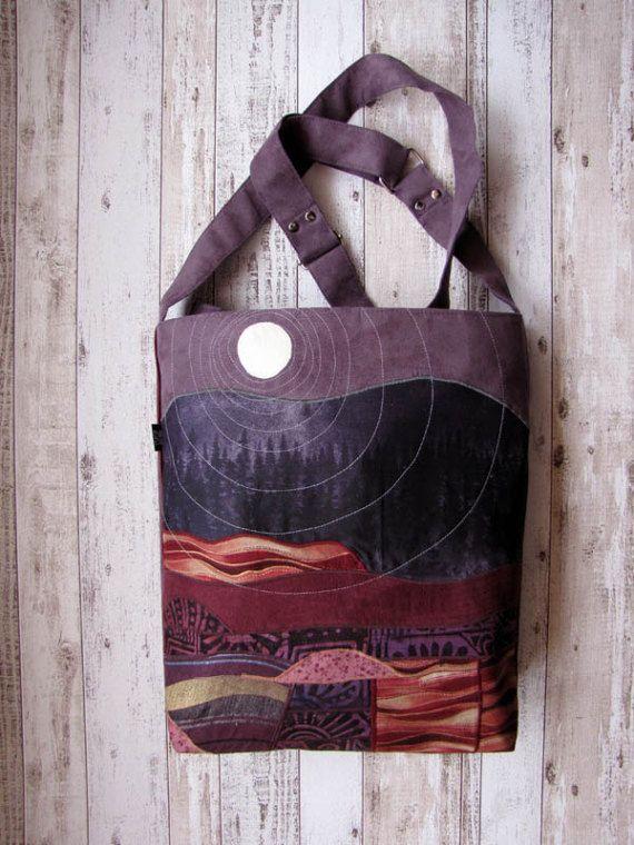 Crossbody Appliqued Landscape Bag Adjustable Strap Unique by ifONA