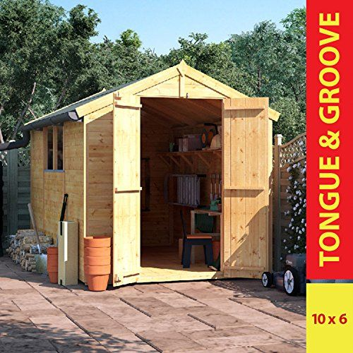10x6 Wooden Shed - BillyOh Windowed, Double Doored, Master Tongue & Groove Apex Shed---439---