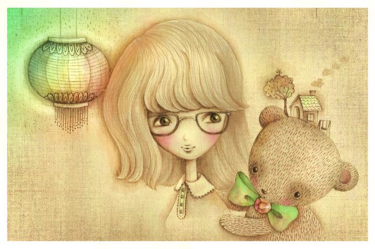 alice wong-  cute girl and bear