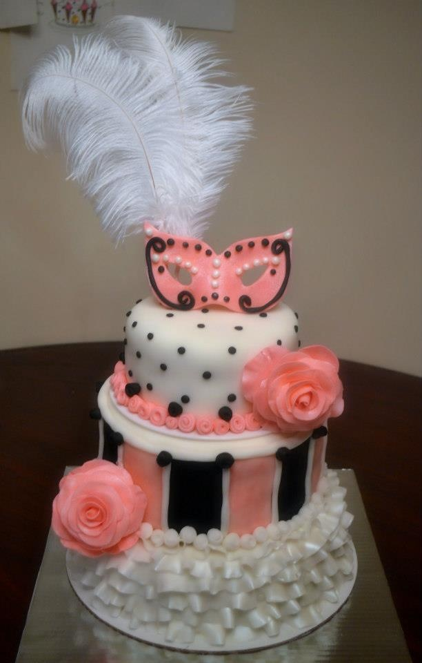 Masquerade Cake Fondant Decorations Including Mask And
