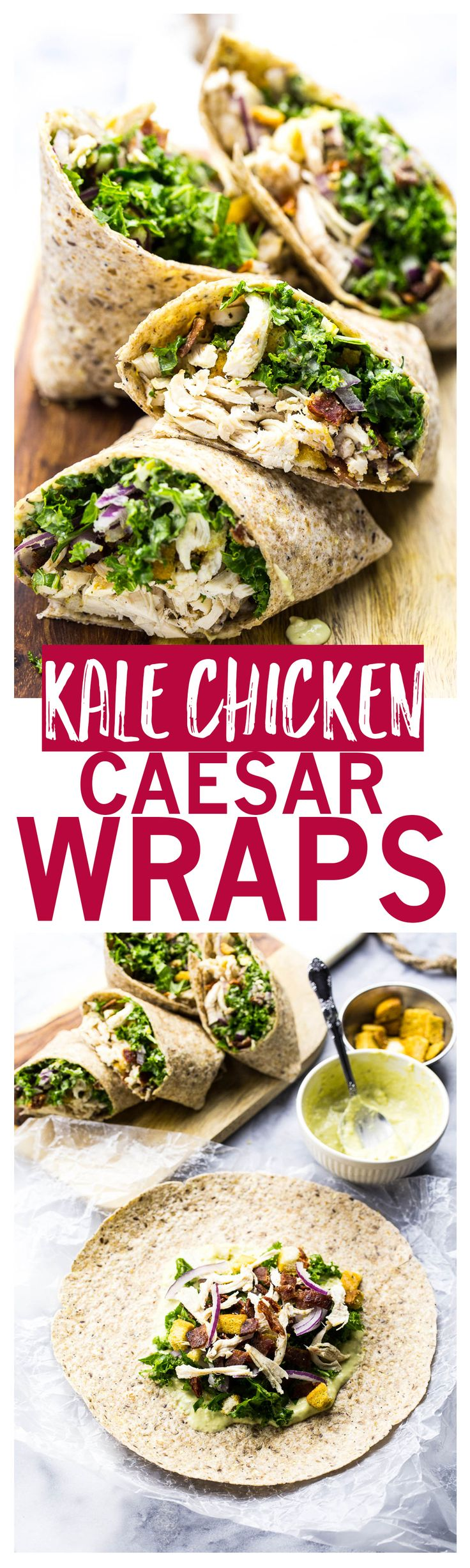 Chicken and Kale Caesar Wraps are the perfect on-the-go lunch and include a lighter vegetarian avocado caesar dressing!