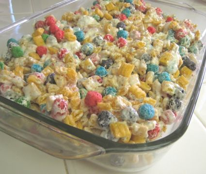 Forget about rice krispies... Cap'n crunch crispy treats... can use lucky charms too!