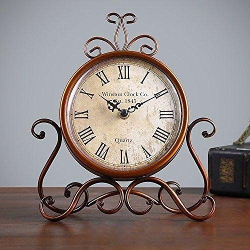 Table Clock Desk Clock Retro Living Room Decorative Non-ticking Analog Antique #Eruner