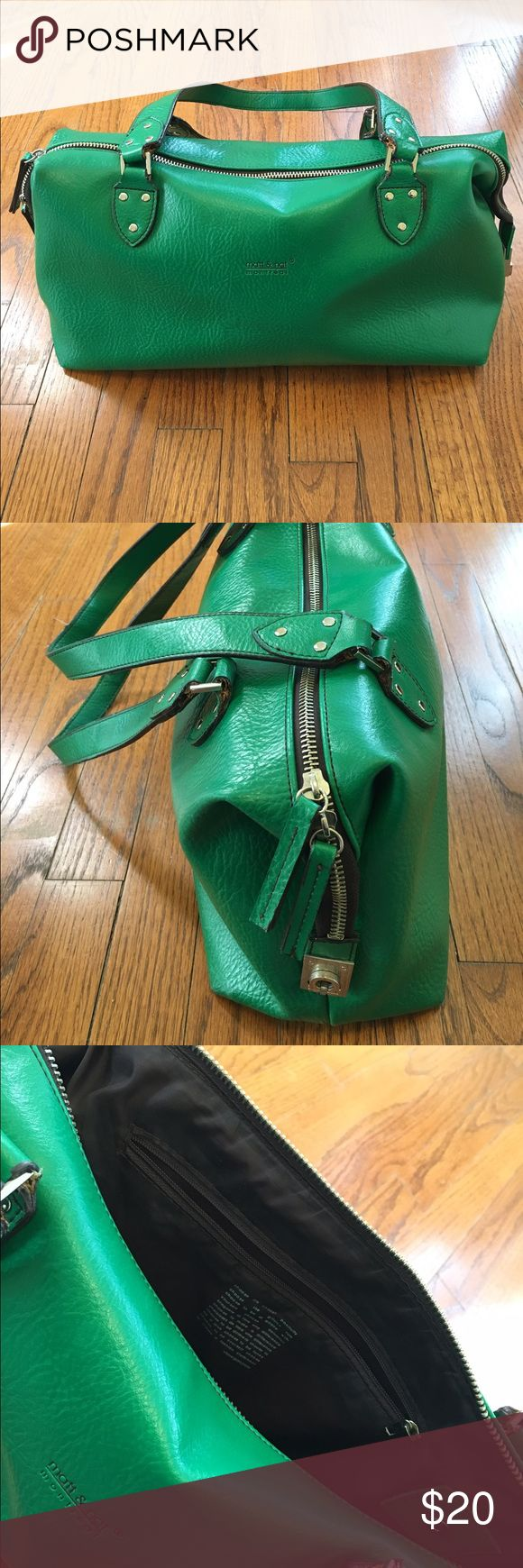 Matt and Nat Emerald Green Purse Another of my well cared for, beloved Matt and Nat bags ready for its next loving home. Awesome roomy purse with inside pocket and chunky metal hardware at ends giving this an edge. Has very mild wear on handle as you can see in photo. Matt and Nat Bags Satchels