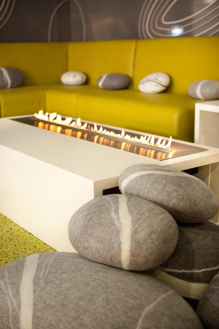 Fireplace by Planika & pebble cushions