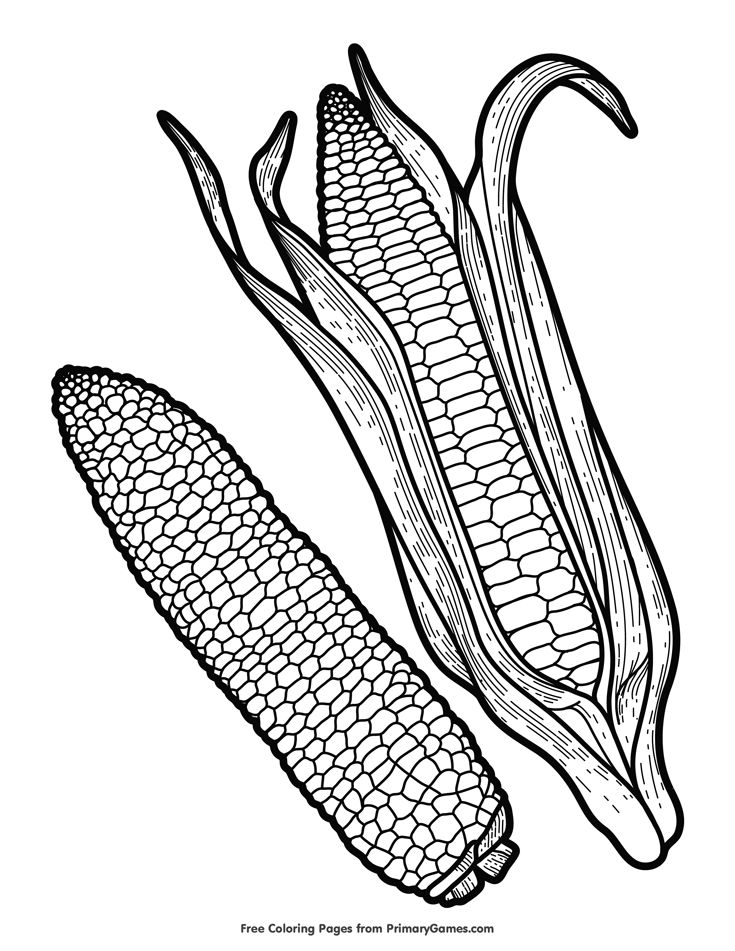 Corn Coloring Page • FREE Printable eBook (With images ...