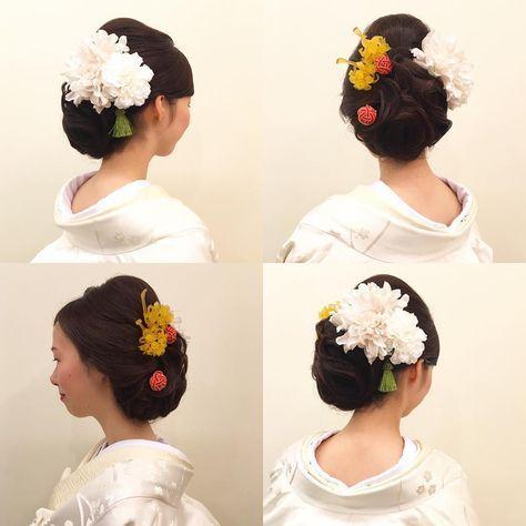 ブライダルフェアの模擬式モデルさん☺︎ 和っぽさを感じさせる大人アップにしてみました お花も簪もまーるいのもタッセルも欲張りに角度によって楽しい部分を作りました #hair #hairdo #hairstyle #bride #wedding #ヘアセット #ヘアスタイル #ヘアアレンジ #ブライダル #ブライダルヘア #結婚式 #前撮り #アップスタイル #プレ花嫁 #花嫁ヘア #白無垢ヘア #白無垢 #日本 #japan #日本の結婚式 #ドレス #クラシカル #粋な #東京 #tokyo #成人式 #beauty