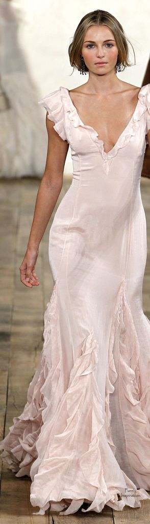 Ralph Lauren. gorgeous sexy, blushy, flowy wedding dress or bridesmaid dress