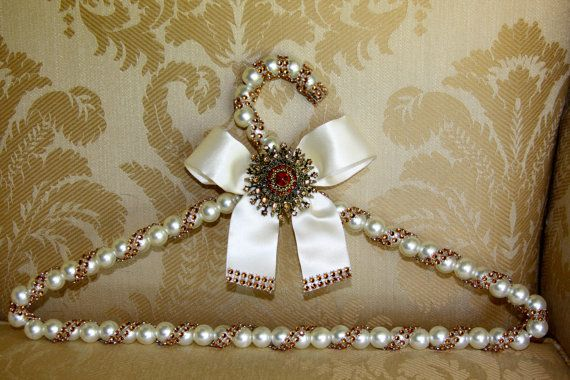 bridal hanger with brooch wedding dress hanger with pearl beads for the bride,bridesmaids,maid of honor,vintage wedding hanger on Etsy, $45.00