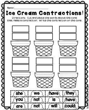 Contractions Worksheets for 1st and 2nd Grade