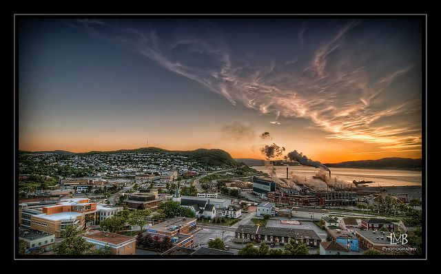 Corner Brook at sunset.