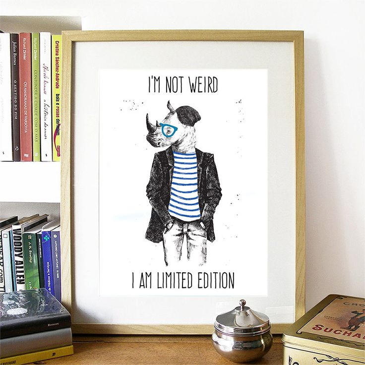 15.00$ - Motivational Poster Hipster Rhino Colorful Poster Art Print colorful Motivational Poster Whimsical Poster