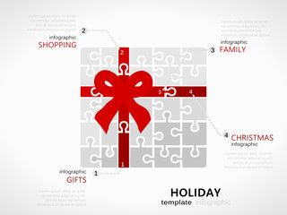 Christmas holiday infographic template with white gift box and red ribbon symbol made out of jigsaw pieces