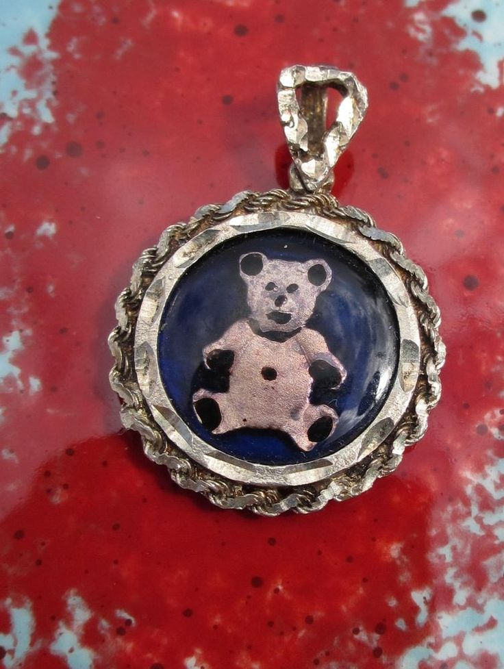 Vintage 1 10 Oz Fine Silver Black Enamel Panda Coin Pendant