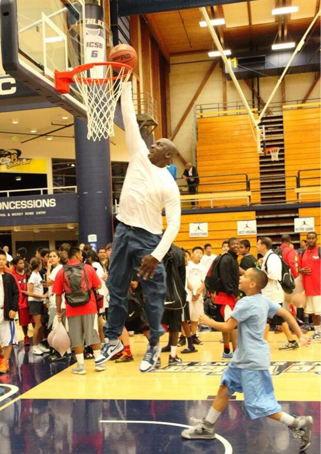 Here's Michael Jordan dunking at 50 years old! Watch the video by clicking the story. (Photo via @Michael Dussert Jordan Flight School)