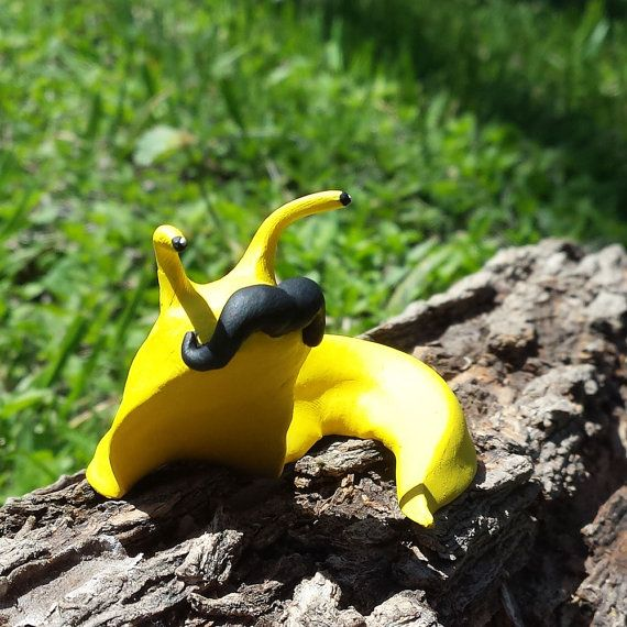 OOAK Handmade Polymer Clay Mustache Banana Slug by OwlNighter