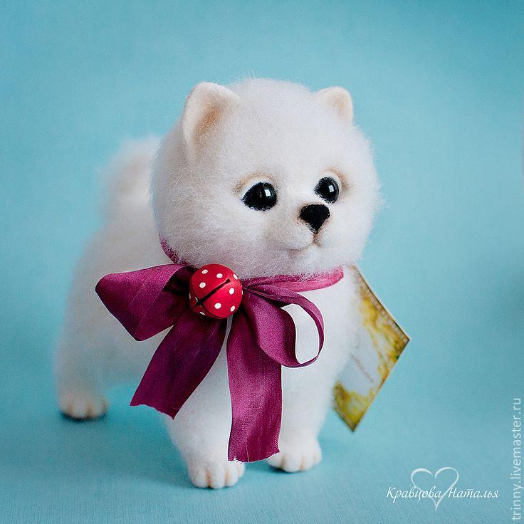 Щенок Мартин - белый,шпиц,лайка,щенок,собака,валяная игрушка,войлочная