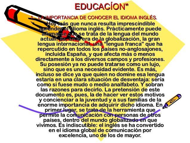 """EDUCACÍON""""EDUCACÍON""""  11. LA IMPORTANCIA DE CONOCER EL IDIOMA INGLÉS.. LA IMPORTANCIA DE CONOCER EL IDIOMA INGLÉS.  • Hoy má..."""