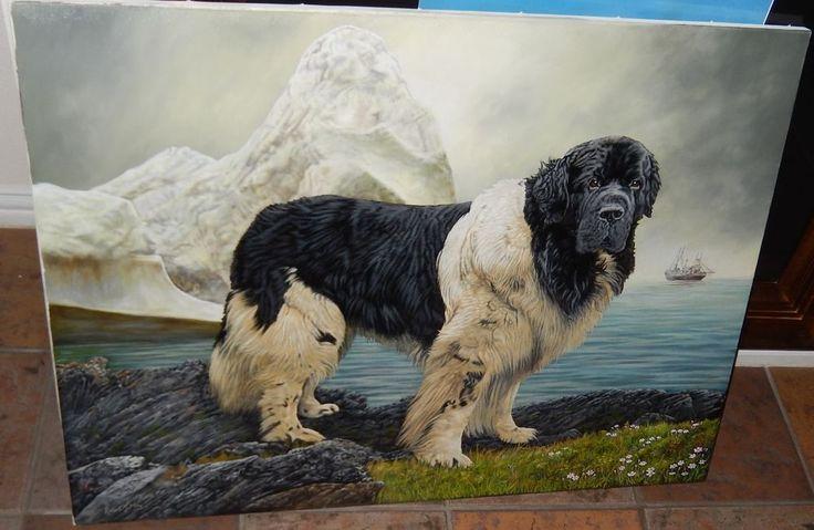 landseer newfoundland dog original art not a print by robert may dog and animal. Black Bedroom Furniture Sets. Home Design Ideas