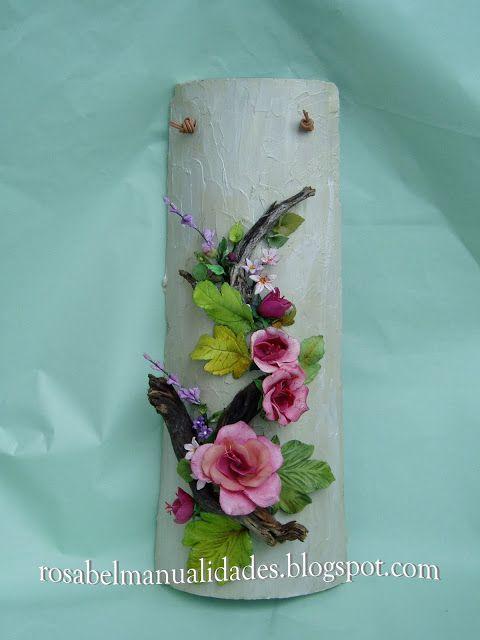 Rosabel manualidades: Tejas decoradas con pasta de porcelana