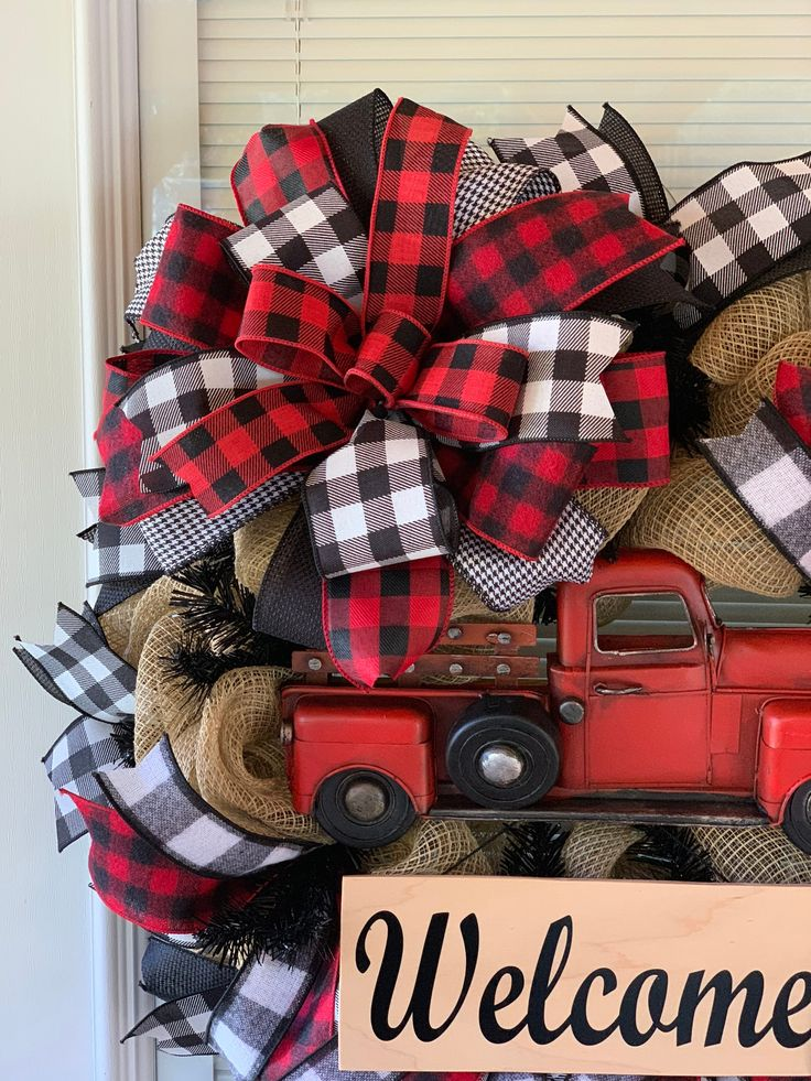 Christmas Wreath Red Truck Wreath Red Truck Farmhouse | Etsy