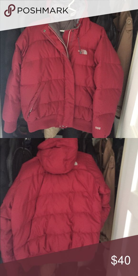 North Face down winter coat. Women's size large Red North Face Women's down coat with hood. Cozy and warm North Face Jackets & Coats Puffers