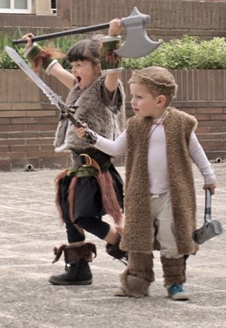 vikings party_ shaggy vests - use old brown cardis from op shop?