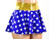 Blue & White Star Print Circle Cut Mini Skirt with Gold Waist Band Rave Clubwear EDM  150900
