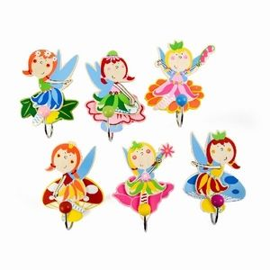 Simply for Kids Kinderkapstokhaakjes Elfje - Zes vrolijke houten kledinghaakjes met elfjes erop maken de meidenkamer helemaal af. Afmetingen: L11 x B4 cm