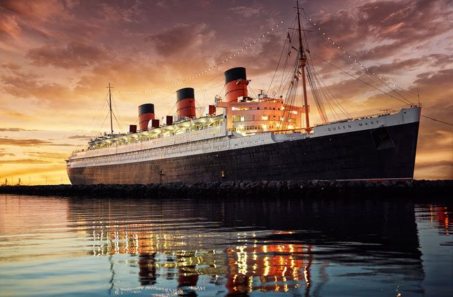 """The Queen Mary, Long Beach, CA - Stay on a ship but never leave the dock. """"The real joy of staying overnight on The Queen Mary is exploring the many outdoor decks, public lounges, and areas of the ship, such as the captain's bridge and radio room."""""""