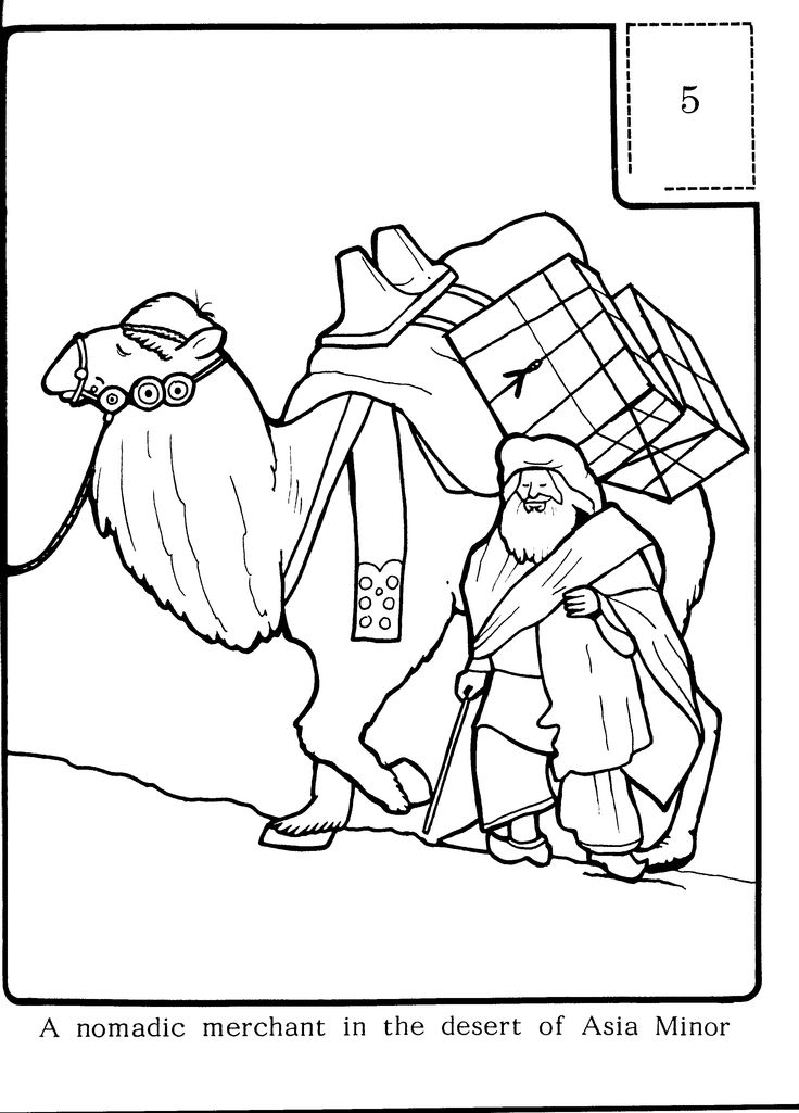 A Nomad and his Camel, Asia Minor - Colouring Sheets