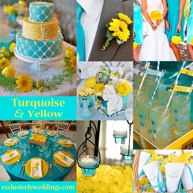 yellow beach wedding color combinations | turquoise and yellow wedding colors yellow paired with turquoise makes ...
