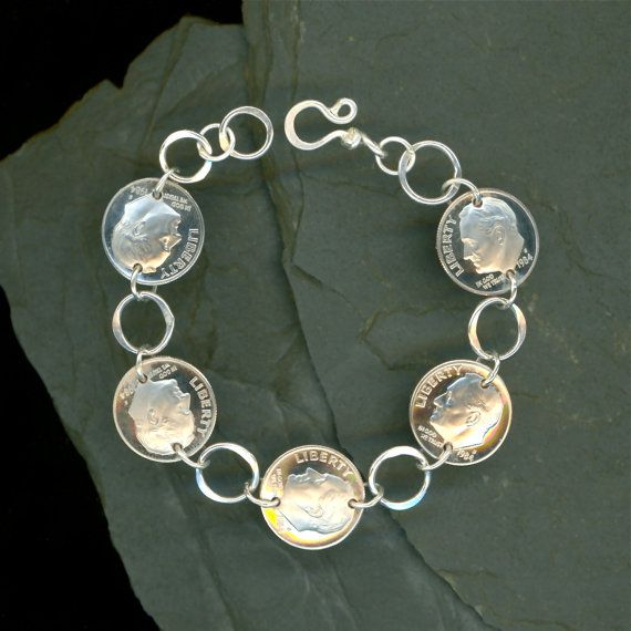 Coin Bracelet 40th Anniversary Gift Jewelry 1974 40th Birthday Gift ...