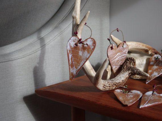 Five Heart Christmas Decorations Ceramic by NancyMarengerPottery
