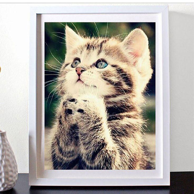 DIY 5D Diamond Painting Cute Kitten Cat Embroidery Cross Stitch Home Decor #