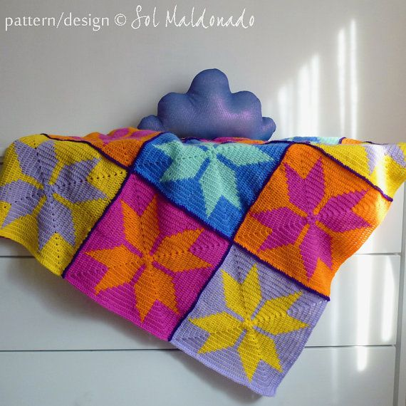 Baby Blanket crochet pattern Geometric granny square,  crochet tapestry