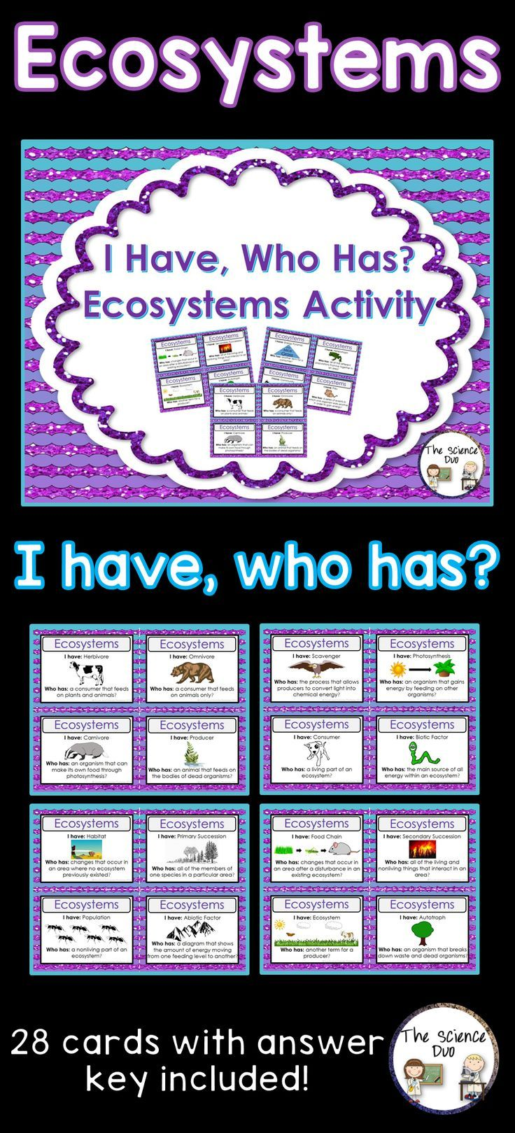 "Ecosystems ""I Have, Who Has"" Activity. This set is sure to spark interest from all of your learners. This Ecosystems activity includes 28 ""I Have, Who Has"" statements. Use this with your entire class as review to get all of your students to participate."