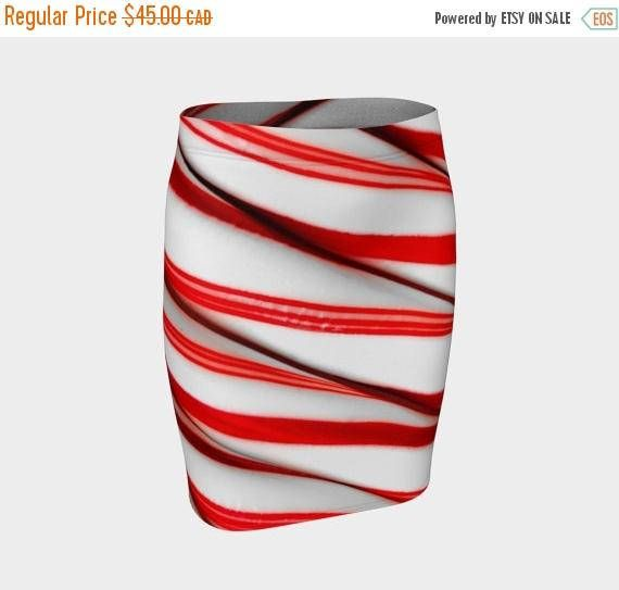 SALE Holidays in August Candy Cane fitted skirt Christmas