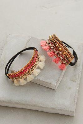 Set of two. Cotton, glass crystal, plastic beadwork, metallic thread, elastic. Imported