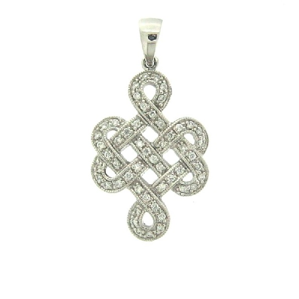 Ladies 14K white gold diamond pendant. Set with a total diamond weight of 0.27ct round brilliant diamonds.