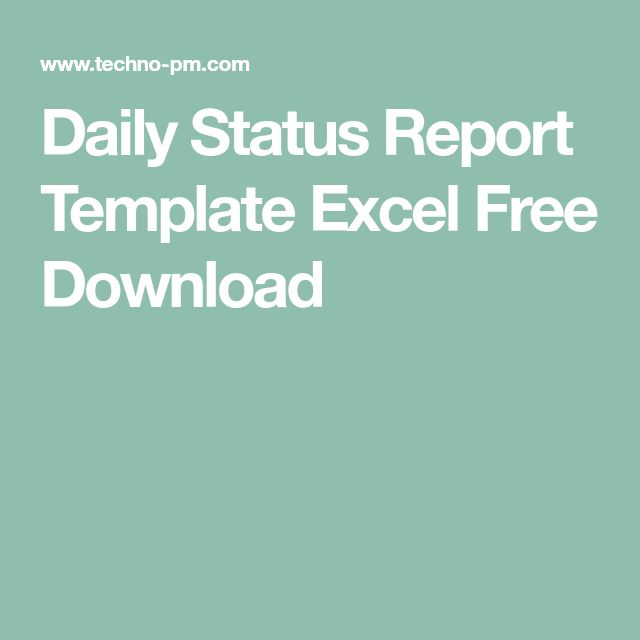 Daily Status Report Template Excel Free Download