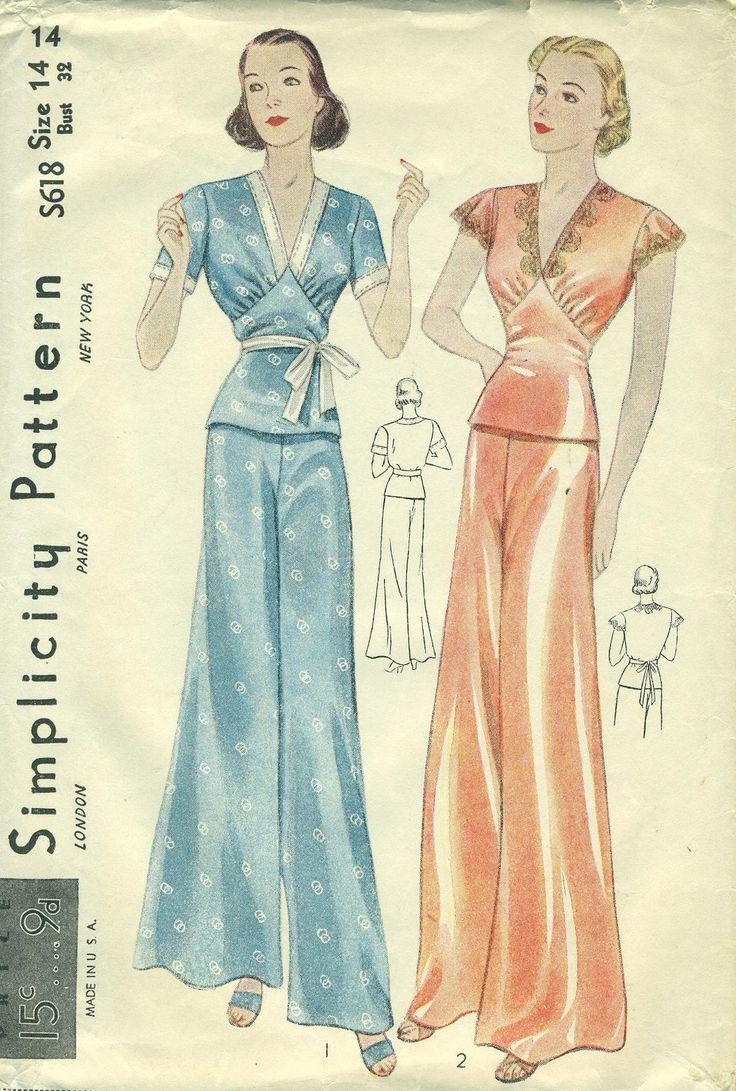 Simplicity S618 LOUNGING PAJAMAS 1930s Glamour